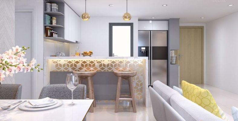 Sử dụng lối đi chung và tường màu gạch để phân biệt không gian giữa phòng khách và nhà bếp