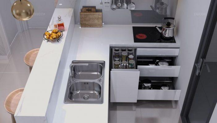 Bố cục không gian bếp đơn giản nhưng vẫn đáp ứng đầy đủ tiện nghi