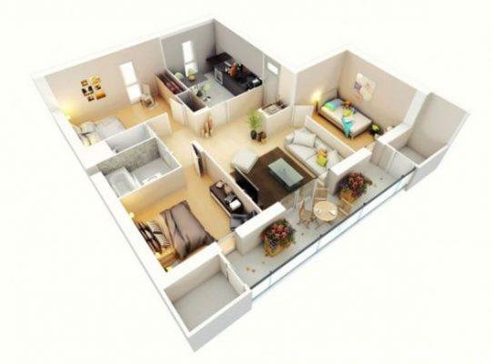 nội thất căn hộ chung cư 3 phòng ngủ