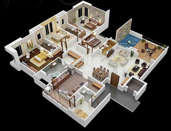 thiết kế nội thất chung cư 4 phòng ngủ