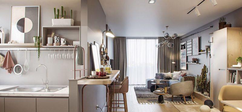 Không gian nội thất căn hộ 45m2 đẹp trẻ trung