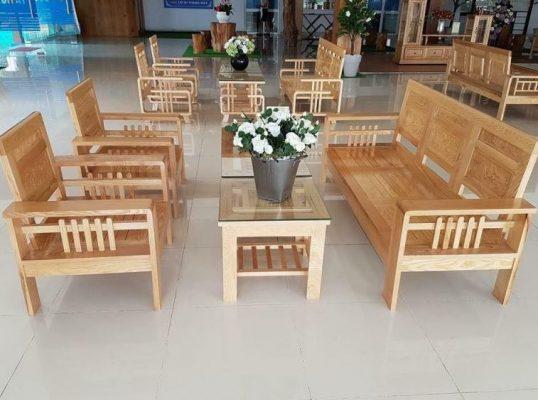 Bộ bàn ghế gỗ sồi phòng khách giá 5 triệu hiện đại