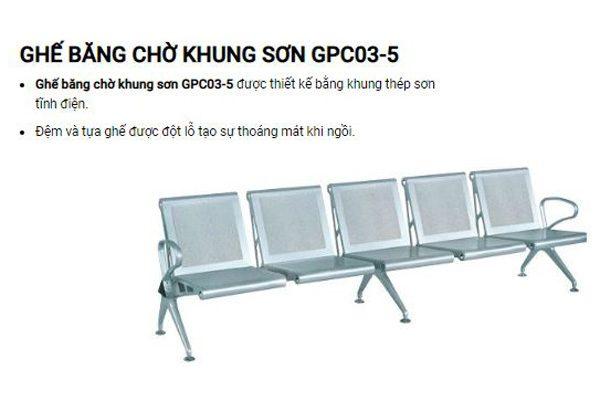 Ghế băng chờ 5 chỗ ngồi khung sơn GPC03-5